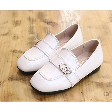 בנות נעליים עור פטנט אביב נוחות נעליים ללא שרוכים ל לבן / שחור / צהוב
