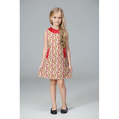 Χαμηλού Κόστους Φορέματα για κορίτσια-Παιδιά Κοριτσίστικα Βίντατζ Καθημερινό Βασικό Καθημερινά Σχολείο Φλοράλ Στάμπα Ζακάρ Κεντητό Στάμπα Αμάνικο Βαμβάκι Ακρυλικό Πολυεστέρας Φόρεμα Ρουμπίνι