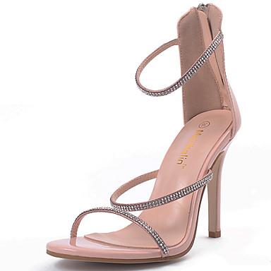 Mujer Zapatos Cuero Patentado Verano Talón Descubierto Sandalias Tacón Cuadrado Pedrería Dorado / Negro / Fiesta y Noche sfDp1j1zv