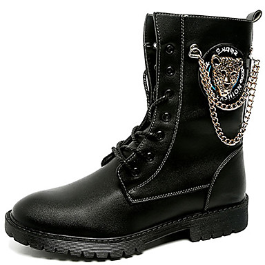 Men's Combat Boots Mid-Calf Patent Leather Fall / Winter Boots Mid-Calf Boots Boots Black b40fec