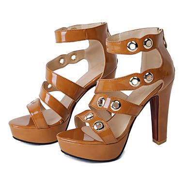Polyuréthane Sandales Confort Bottier ouvert Femme Talon Noir Bout 06601934 Nouveauté Printemps Eté Chair Jaune Rivet Chaussures 5FYq1U