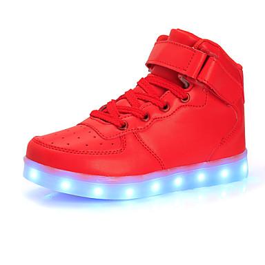 Para Meninas sapatos Tule Primavera Outono Tênis com LED Conforto Tênis Caminhada Corrida LED Velcro para Atlético Branco Preto Prata