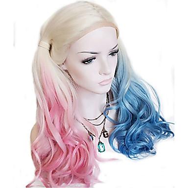 ieftine Peruci Dantelă Sintetice-Lănțișoare frontale din sintetice Stil Ondulat Stil Cu Codițe Față din Dantelă Perucă Albastru Blond platinat Păr Sintetic Pentru femei Partea Mijlocie Albastru / Pink / Gri Perucă Lung Perucă Cosplay