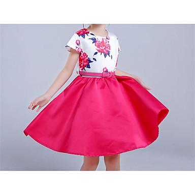 Χαμηλού Κόστους Φορέματα για κορίτσια-Παιδιά Κοριτσίστικα Απλός Βίντατζ Βασικό Πάρτι Αργίες Μονόχρωμο Φλοράλ Patchwork Φιόγκος Στάμπα Αμάνικο Βαμβάκι Ακρυλικό Πολυεστέρας Φόρεμα Φούξια
