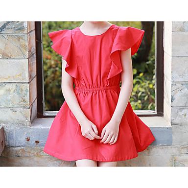 שמלה כותנה קיץ שרוולים קצרים אחיד הילדה של פשוט פעיל אודם