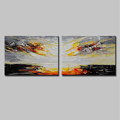 mintura ® 2 לוחות צבוע ביד מודרנית מופשטת עולה השמש ציור שמן על בד ציור קיר תמונה לקישוט הבית מוכן לתלות