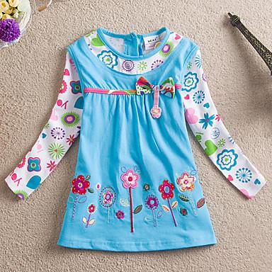 baratos Blusas para Meninas-Bébé Para Meninas Casual Diário Feriado Floral Retalhos Laço Franzido Floral Manga Longa Longo Algodão Blusa Azul / Fofo