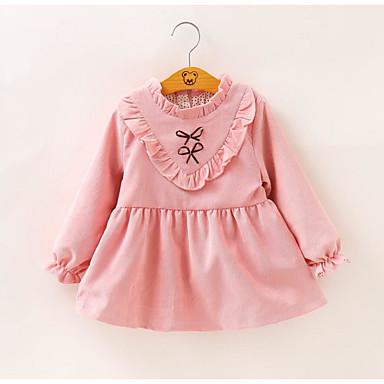 שמלה שרוול ארוך פפיון / שרוכים לכל האורך אחיד / פרחוני חגים פעיל בנות פעוטות / כותנה / חמוד