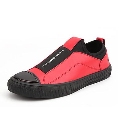 בגדי ריקוד גברים נעלי נוחות PU אביב קיץ יום יומי נעלי ספורט ללא החלקה שחור / כסף / אדום