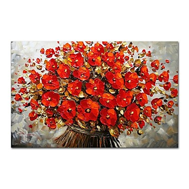 Hang-Malowane obraz olejny Ręcznie malowane - Abstrakcja / Kwiatowy / Roślinny Nowoczesne / Nowoczesny Płótno / Rozciągnięte płótno