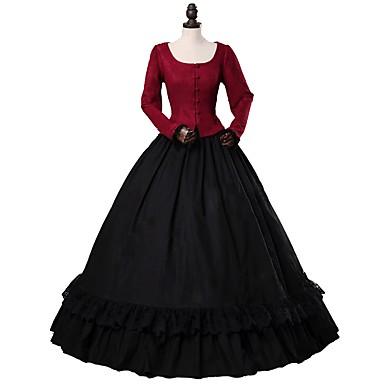 ויקטוריאני רוקוקו תחפושות בגדי ריקוד נשים מבוגרים תלבושות אדום + שחור וינטאג Cosplay 50% כותנה, 50% פוליאסטר צמרי שרוול ארוך בלון\מנופח