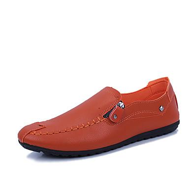 Erkek Ayakkabı Suni Deri İlkbahar yaz Sportif Mokasen & Bağcıksız Ayakkabılar Günlük için Siyah / Beyaz / Kahverengi