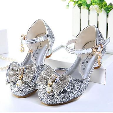 Dla dziewczynek Obuwie Brokat Lato Comfort / Buty dla małych druhen Sandały Stras / Kokarda / Perła na Gold / Silver / Różowy
