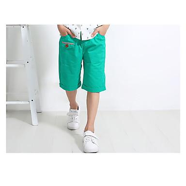 baratos Calças para Meninos-Infantil Para Meninos Simples Vintage Diário Sólido Estilo vintage Sem Manga Algodão Linho Fibra de Bamboo Shorts Verde