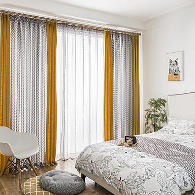 zasłony zasłony Salon Jendolity kolor / Geometryczny Mieszanka bawełny i lnu Drukowane