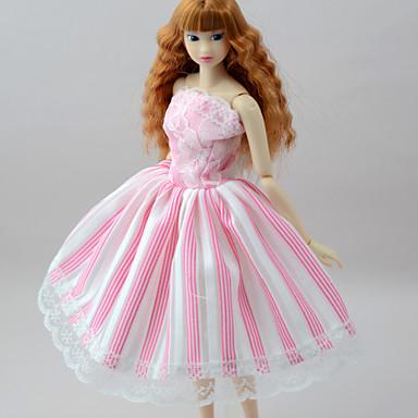Suknie Sukienki Dla Lalka Barbie Blady róż Bawełniano-poliestrowy / Mieszanka Lnu i Poliestru Ubierać Dla Dziewczyny Lalka Zabawka