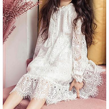 baratos Princesa-Infantil Para Meninas Doce Diário Branco Sólido Renda Manga Longa Vestido Branco / Algodão