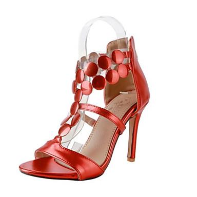 06589596 Rouge Polyuréthane Or Paillette Eté Soirée Aiguille Chaussures Talon Gladiateur Argent Femme ouvert Evénement Bout amp; Sandales aqH57TWx
