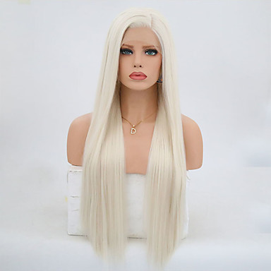cheap Synthetic Wigs-Synthetic Lace Front Wig Straight Style Lace Front Wig Blonde Platinum Blonde Synthetic Hair Women's Natural Hairline Blonde Wig 24 inch / 26 inch / Long Natural Wigs