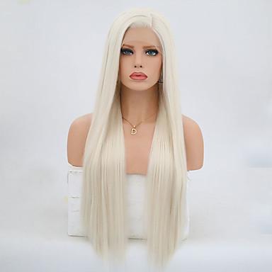 Χαμηλού Κόστους Συνθετικές περούκες με δαντέλα-Συνθετικές μπροστινές περούκες δαντέλας Ίσιο Στυλ Μεταξένια Ίσια Δαντέλα Μπροστά Περούκα Ξανθό Πλατινέ Ξανθό Συνθετικά μαλλιά Γυναικεία Φυσική γραμμή των μαλλιών Ξανθό Περούκα 24 εκ / 26