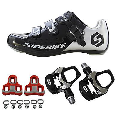 رخيصةأون أحذية ركوب الدراجة-SIDEBIKE للجنسين أحذية رياضية أحذية الدراجة Road Bike Shoes النايلون وألياف الكربون أخضر / الدراجة توسيد خفيف جدا (UL)