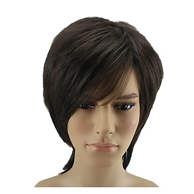 Synthetic Wig Straight Style Layered Haircut Capless Wig Red Brown