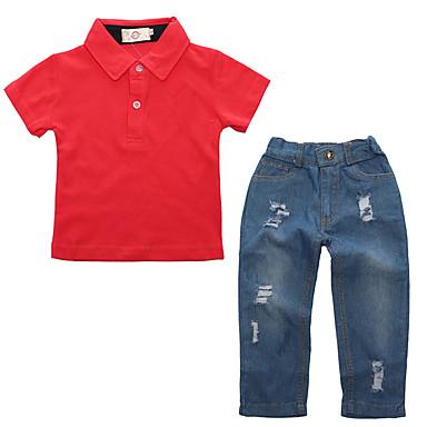 סט של בגדים כותנה אביב קיץ שרוולים קצרים יומי ספורט אחיד בנים יום יומי סגנון רחוב אודם