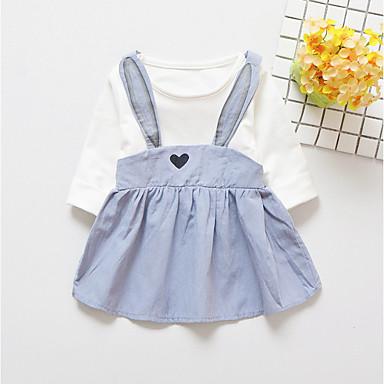 שמלה שרוול ארוך דפוס אחיד / קולור בלוק פשוט בנות פעוטות
