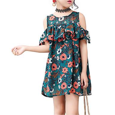 Dzieci Dla dziewczynek Aktywny / Podstawowy Święto Solidne kolory / Kwiaty Krótki rękaw Sukienka / Bawełna