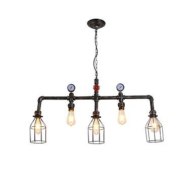 rustykalna metalowa klatka wodociągowa wisiorek światło salon jadalnia żyrandol 5-malowany lakierowany
