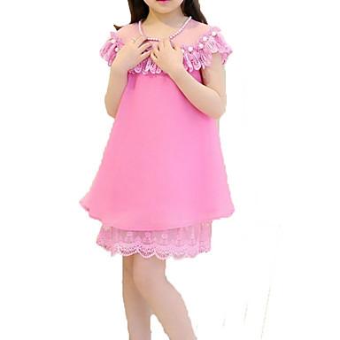 Χαμηλού Κόστους Φορέματα για κορίτσια-Παιδιά Κοριτσίστικα Βασικό Καθημερινά Αργίες Μονόχρωμο Στάμπα Αμάνικο Βαμβάκι Πολυεστέρας Φόρεμα Ανθισμένο Ροζ / Χαριτωμένο