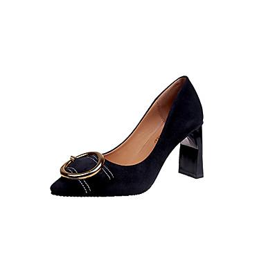 Mujer Zapatos Cuero de Napa Verano Confort Tacones Tacón Cuadrado Dedo Puntiagudo Café 4ixOzZJr4G