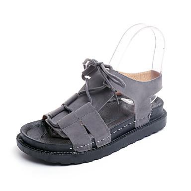 Women's Rubber Summer Comfort Sandals Walking Shoes Creepers Buckle Black / Gray / Khaki