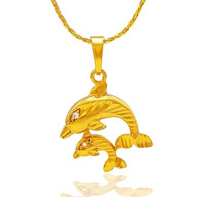 בגדי ריקוד נשים שרשראות תליון - דולפין פשוט חמוד זהב, כסף שרשראות תכשיטים עבור מתנה, יומי