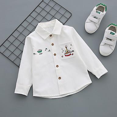 baratos Camisas para Meninos-Bébé Para Meninos Casual Diário Geométrica Fivela Manga Longa Padrão Algodão Camisa Azul
