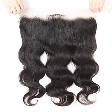 povoljno Perike i ekstenzije-Guanyuwigs Brazilska kosa 4x13 Zatvaranje Wavy Besplatno dio / Središnji dio / 3. dio Švicarska čipka Ljudska kosa Žene S dječjom kosom / Nježno / Svilenkast Party / večernja odjeća / Svakodnevica