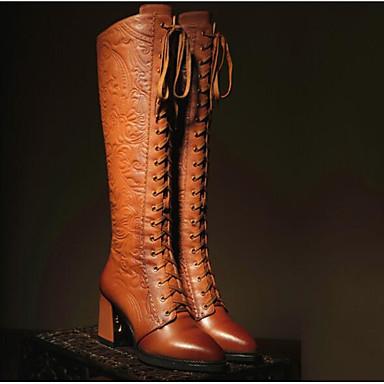 Damskie Obuwie Nappa Leather / Skórzany Zima Modne obuwie Buciki Gruby obcas Kozaki za kolano Black / Brown