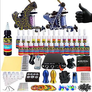 Dövme Makinesi Başlangıç Kiti - 2 pcs Dövme Makineleri ile 14 x 5 ml dövme mürekkepleri, Profesyonel Mini güç kaynağı No case 2 x Çizgi ve gölgelendirme için Alaşımlı Dövme Makinesi