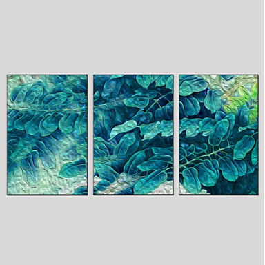 billige Trykk-Trykk Strukket Lerret Trykk - Abstrakt Blomstret / Botanisk Moderne Tre Paneler Kunsttrykk