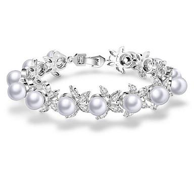 abordables Bracelet-Chaînes Bracelets Bracelet Jonc Femme Perle Zircon Fleur Européen Doux Bracelet Bijoux Blanc pour Soirée