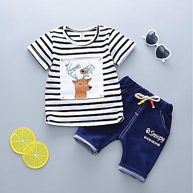 cheap Boys' Clothing Sets-Toddler Boys' Active / Basic Daily / School Striped Short Sleeve Regular Cotton / Acrylic Clothing Set Red