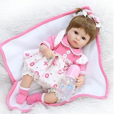 hesapli Oyuncaklar ve Oyunlar-NPKCOLLECTION NPK DOLL Yeniden Doğmuş Bebekler Kız Bezi Kız Bebeklerin 18 inç Silikon - Yeni doğan canlı Tatlı Çevre-dostu El Yapımı Çocuk Kilidi Kid Unisex / Genç Kız Oyuncaklar Hediye / Disket kafa