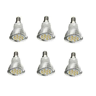 6 szt. 5 W 380-420 lm E14 Żarówki punktowe LED 16 Koraliki LED SMD 5630 Dekoracyjna Ciepła biel 85-265 V