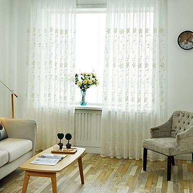 Sheer Zasłony Rolety Salon Kwiaty Bawełna / Poliester Drukowane