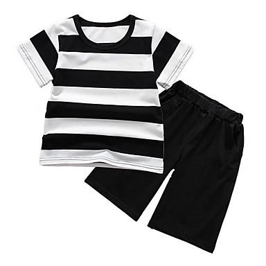 Dzieci Dla chłopców / Dla dziewczynek Podstawowy Sport Prążki Krótki rękaw Bawełna Komplet odzieży