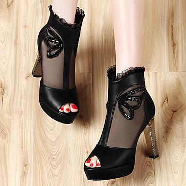 Tulle Printemps microfibre Bottier de Noir Automne Talon synthétique Gladiateur 06621090 Chaussures Basique Sandales Escarpin Femme PU tfwXXY