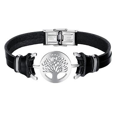 voordelige Herensieraden-Heren Lederen armbanden Boom van leven Modieus Roestvast staal Armband sieraden Zwart Voor Dagelijks