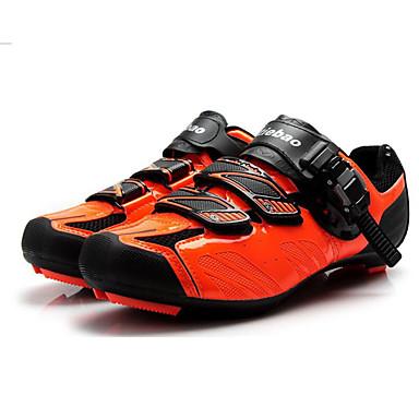 رخيصةأون أحذية ركوب الدراجة-Tiebao® Road Bike Shoes ألياف الكربون مكافح الانزلاق ركوب الدراجة أسود / برتقالي رجالي أحذية الدراجة / هوك وحلقة