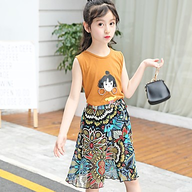 5e45433d5 مجموعة ملابس بدون كم طباعة طباعة النمط الصيني للفتيات أطفال