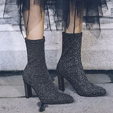 Femme à Chaussures Bottes Mi Cuir la Bottes Mode Hiver Argent Talon Noir mollet 06627210 Automne Bottes Bottier Nubuck dRURxw4Y